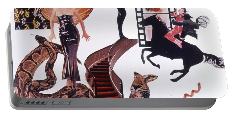 Boa Portable Battery Charger featuring the drawing Soap Scene #22 Lust In The Wind by Minaz Jantz