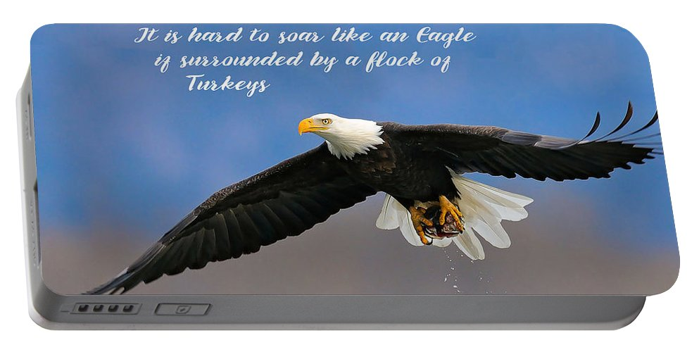 Inspirational Portable Battery Charger featuring the photograph Soar Like An Eagle If You Can by Elaine Plesser