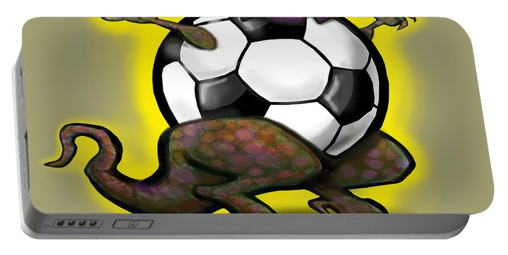 Soccer Portable Battery Charger featuring the digital art Soccer Saurus Rex by Kevin Middleton