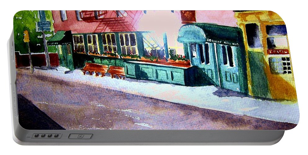 Philadelphia Bed And Breakfast Portable Battery Charger featuring the painting Society Hill Hotel by Sandy Ryan