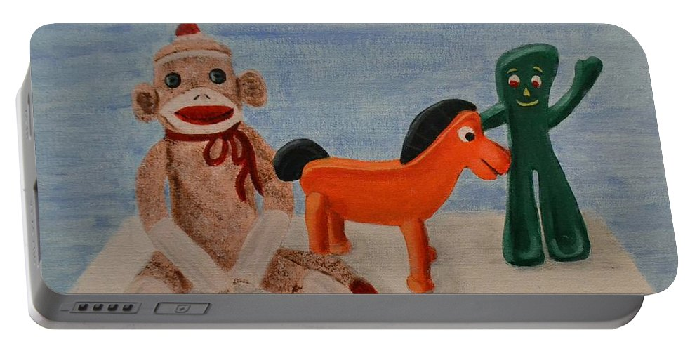 Gumby Portable Battery Charger featuring the painting Sock Monkey And Friends by Nancy Sisco
