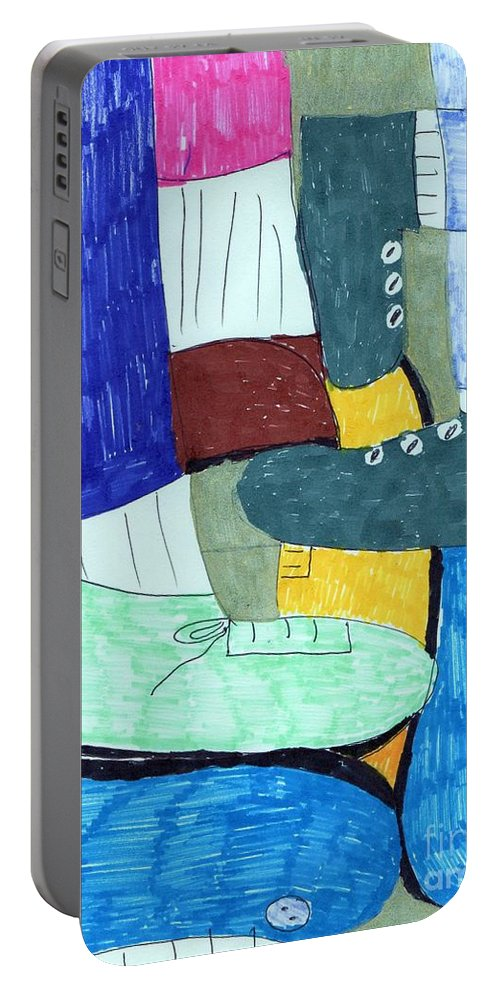 Socks And Shoes Collage Portable Battery Charger featuring the mixed media Socks And Shoes by Elinor Helen Rakowski