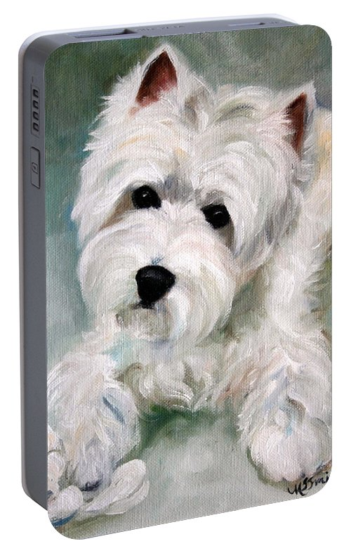 Art Portable Battery Charger featuring the painting Socks by Mary Sparrow
