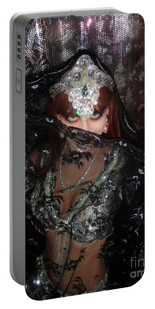 Sofia Portable Battery Charger featuring the photograph Sofia Metal Queen - Black Metal Bellydancer Model by Sofia Metal Queen