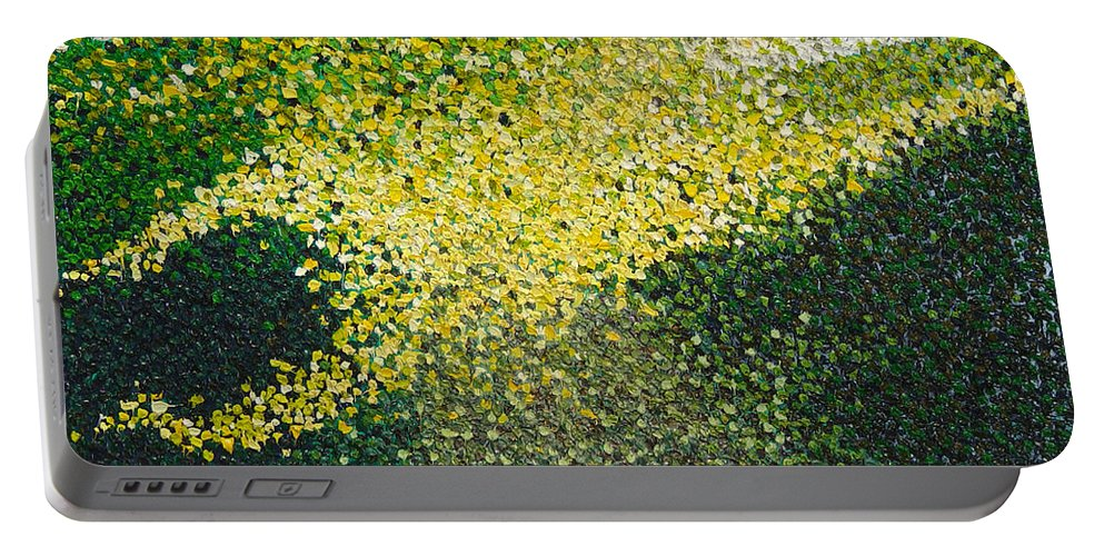 Abstract Portable Battery Charger featuring the painting Soft Green Light by Dean Triolo