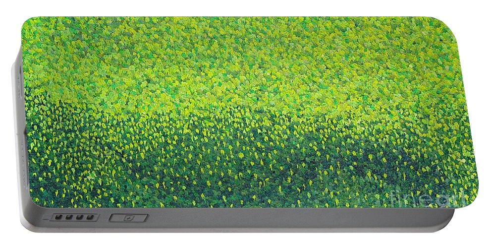 Abstract Portable Battery Charger featuring the painting Soft Green Wet Trees by Dean Triolo