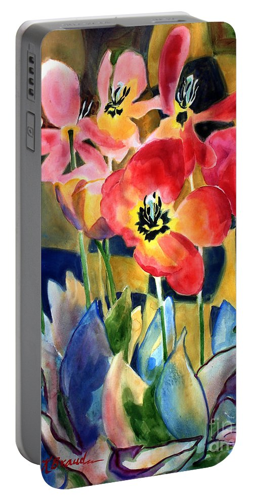 Paintings Portable Battery Charger featuring the painting Soft Quilted Tulips by Kathy Braud
