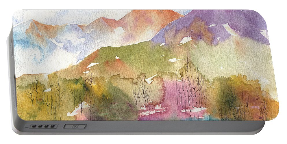 Landscape Portable Battery Charger featuring the painting Soft Tree Landscape by Renee Chastant