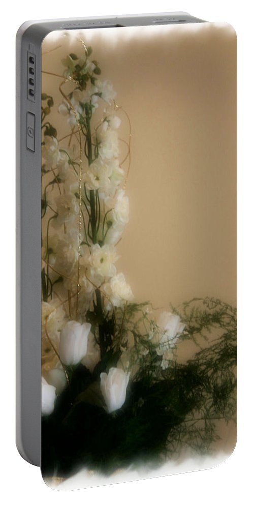 Roses Portable Battery Charger featuring the photograph Soft Whites by Kristin Elmquist