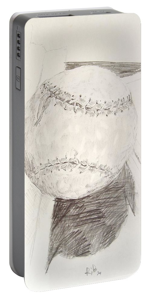 Onion Portable Battery Charger featuring the drawing Softball by Ron Bissett