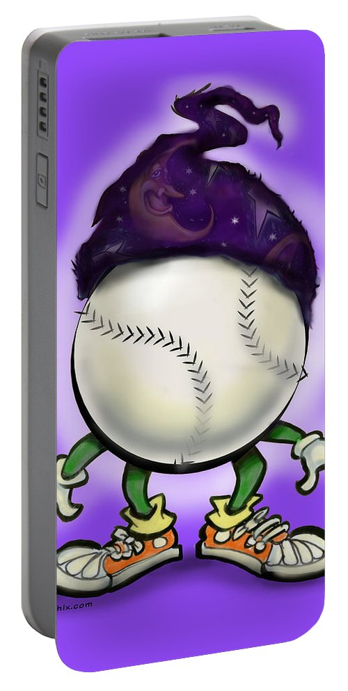Softball Portable Battery Charger featuring the digital art Softball Wizard by Kevin Middleton