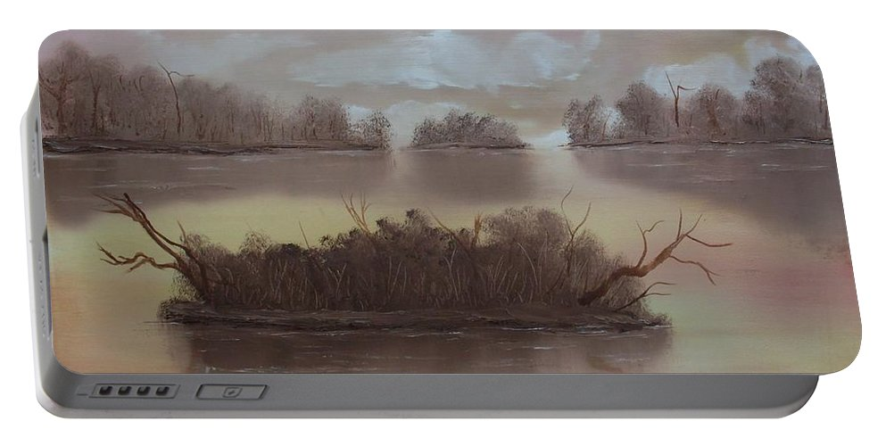 Landscape Portable Battery Charger featuring the painting Softly Spoken by Ervin Sloan