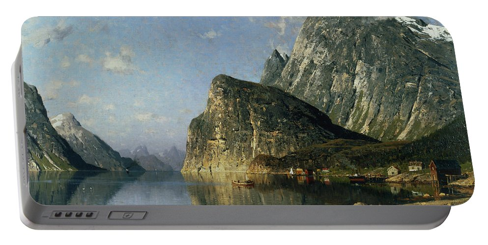 Reflection; Steamer Portable Battery Charger featuring the painting Sogne Fjord Norway by Adelsteen Normann