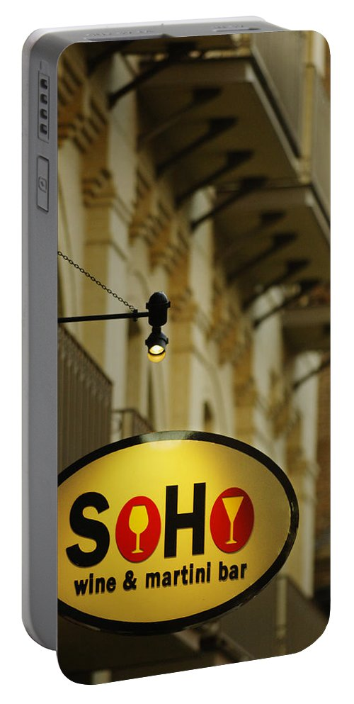 Urban Portable Battery Charger featuring the photograph Soho Wine Bar by Jill Reger