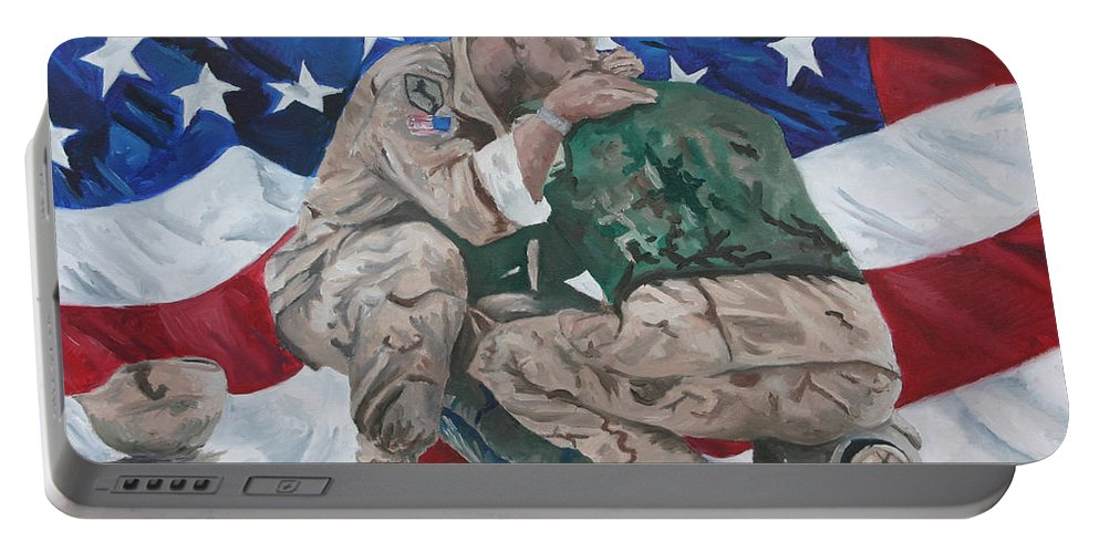 Soldiers Portable Battery Charger featuring the painting Soldiers by Travis Day
