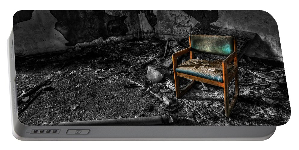 Chair Portable Battery Charger featuring the photograph Sole Survivor by Evelina Kremsdorf
