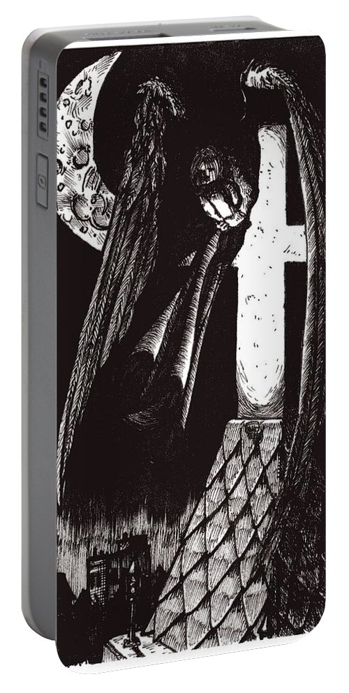 Angel Portable Battery Charger featuring the drawing Solemn Vigil by Tobey Anderson
