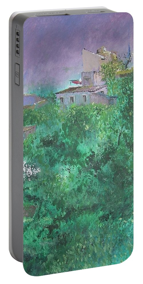 Impressionist Portable Battery Charger featuring the painting Solitary Almond Tree In Blossom Mallorcan Valley by Lizzy Forrester