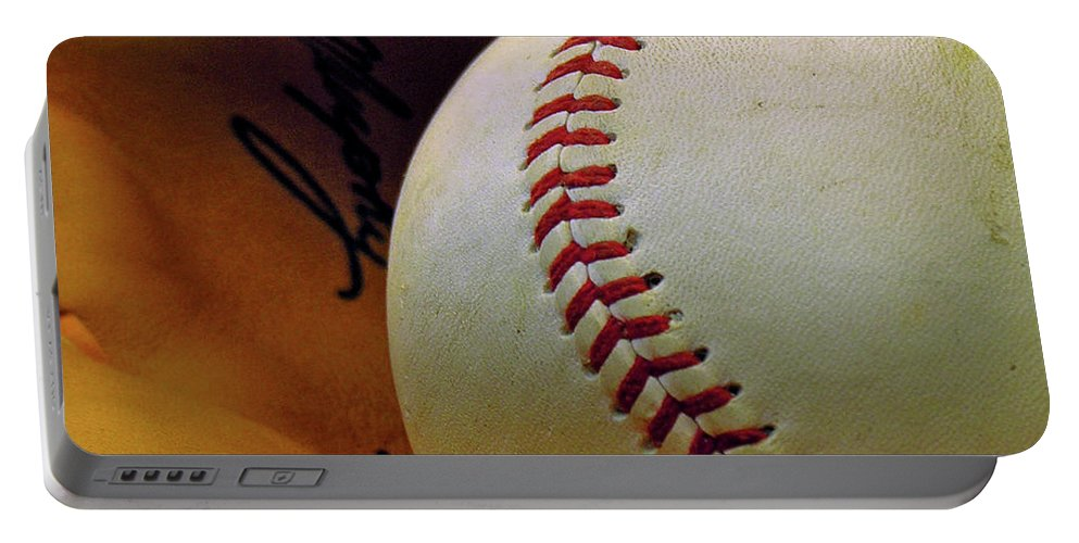 Baseball Portable Battery Charger featuring the photograph Solitary Ball 2 by Adam Vance