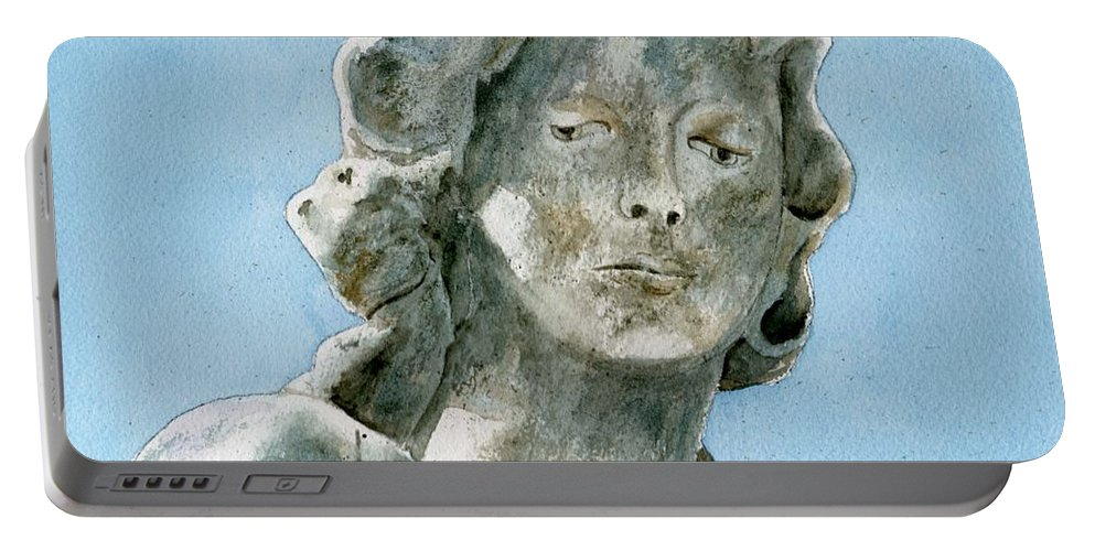 Portrait Watercolor Cemetery Statue Sky Woman Portable Battery Charger featuring the painting Solitude. A Cemetery Statue by Brenda Owen
