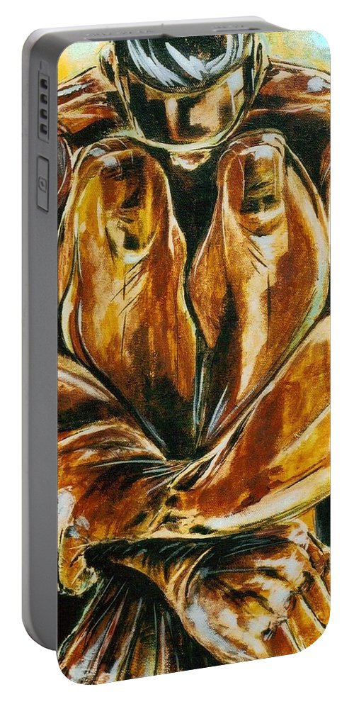 Figure Portable Battery Charger featuring the painting Solitude by Hasaan Kirkland