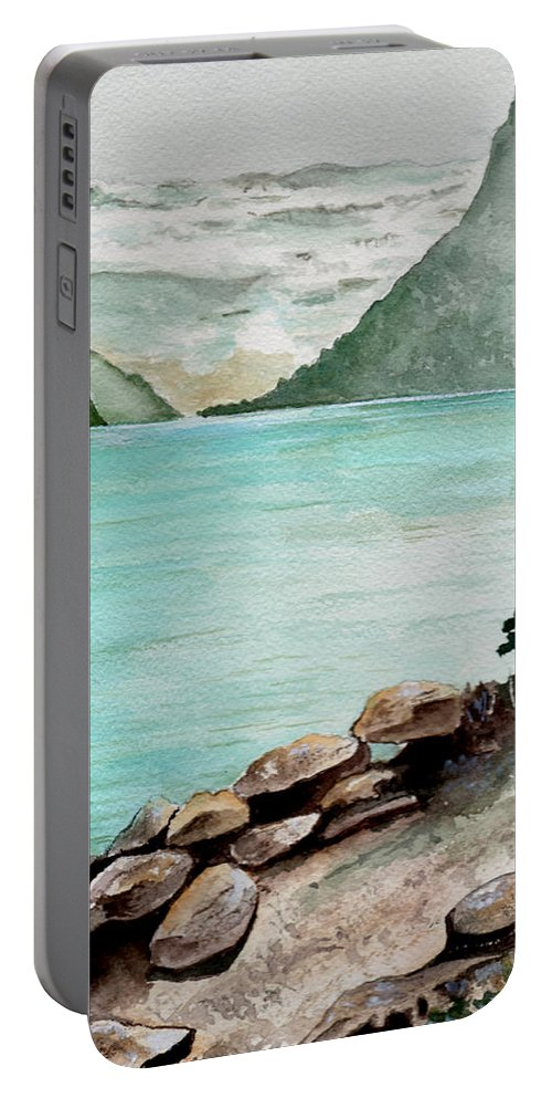 Watercolor Portable Battery Charger featuring the painting Solitude Of The Lake by Brenda Owen