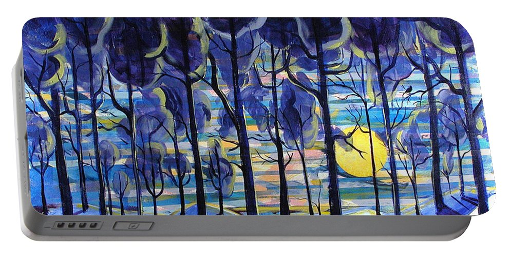 Landscape Portable Battery Charger featuring the painting Solitude by Rollin Kocsis