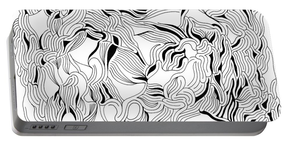 Mazes Portable Battery Charger featuring the drawing Solitude by Steven Natanson