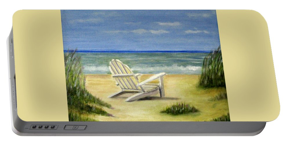 Landscape Portable Battery Charger featuring the painting Solitute, 11x14, Oil, '07 by Lac Buffamonti