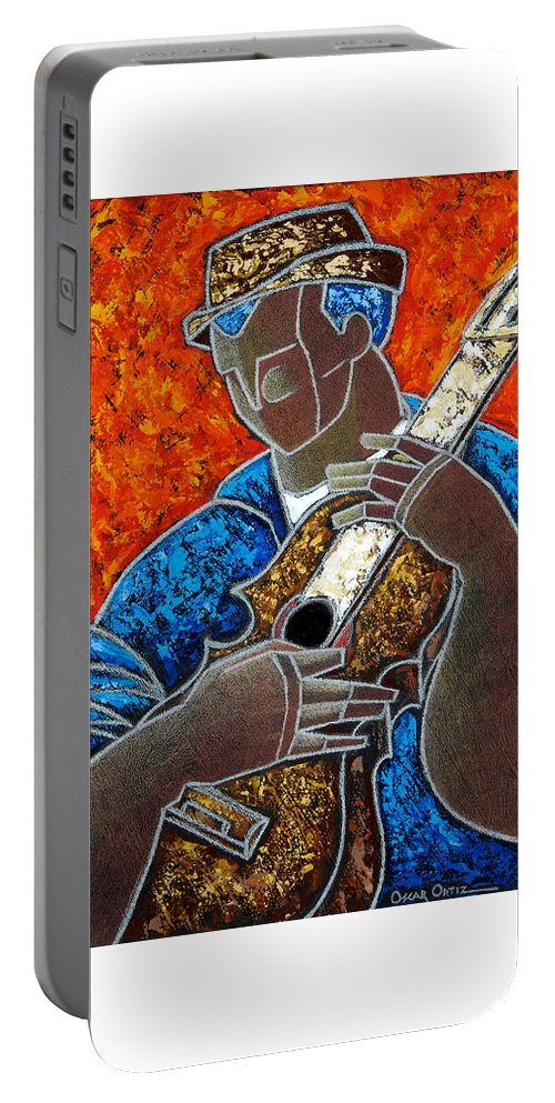 Puerto Rico Portable Battery Charger featuring the painting Solo De Cuatro by Oscar Ortiz