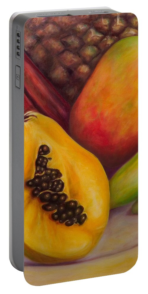 Tropical Fruit Still Life: Mangoes Portable Battery Charger featuring the painting Solo by Shannon Grissom