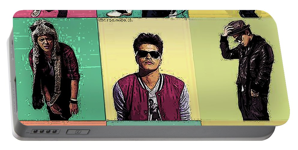 Bruno Mars Portable Battery Charger featuring the mixed media Solo Singer by Dee Art
