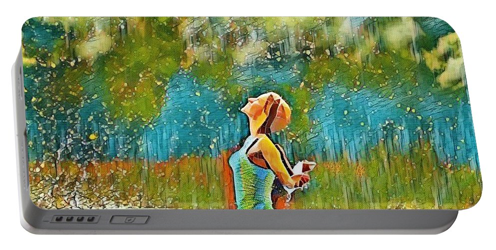 Woman Portable Battery Charger featuring the digital art Solo Splash by Ellen Cannon