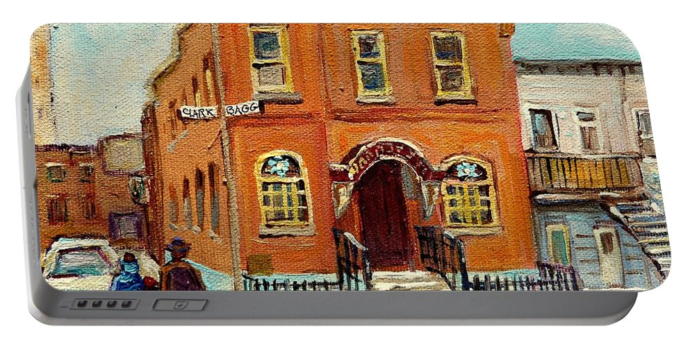 Bagg Street Synagogue Portable Battery Charger featuring the painting Solomons Temple Montreal Bagg Street Shul by Carole Spandau