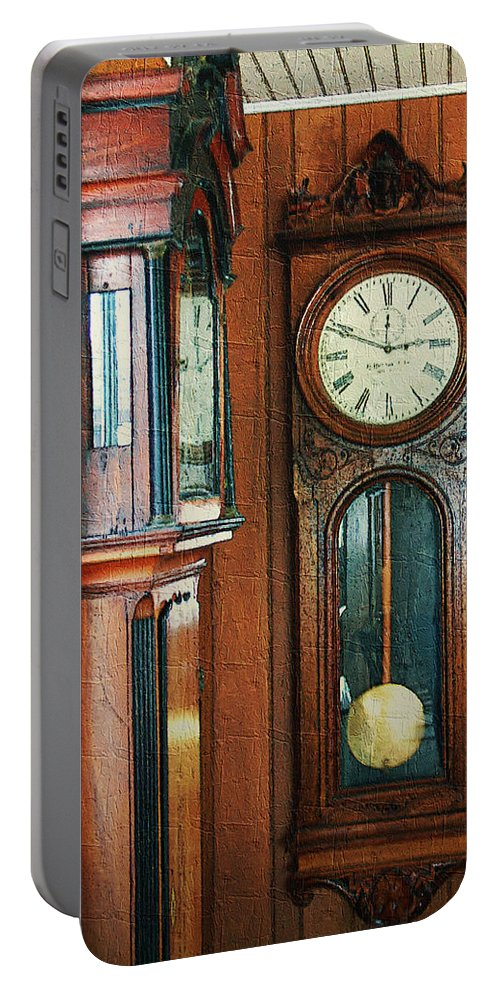 Antiques Portable Battery Charger featuring the digital art Somebodys Grandfathers Clocks by RC DeWinter