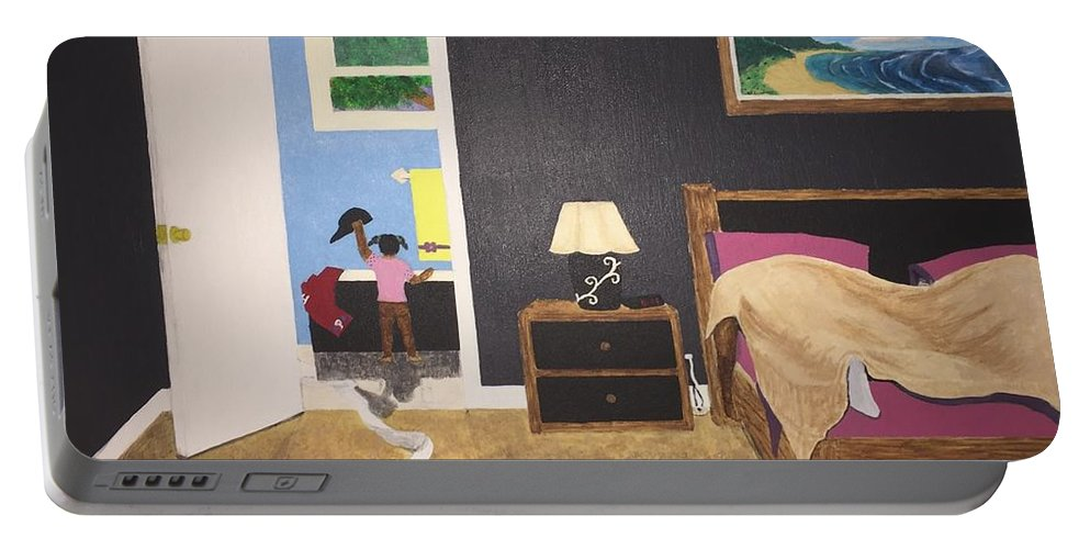 Realism Portable Battery Charger featuring the painting Someone's Awake by Barbara Evans