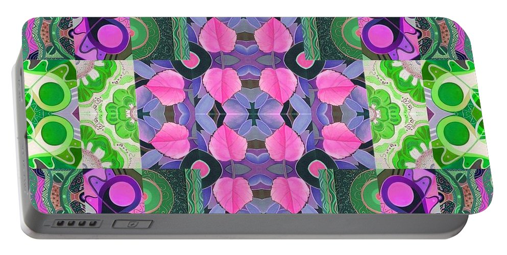 Pink Portable Battery Charger featuring the digital art Something Divine 2 by Helena Tiainen