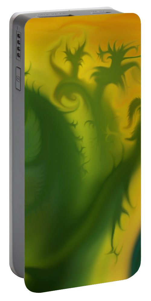 Mythical Beings Portable Battery Charger featuring the photograph Something Green by Harold Zimmer