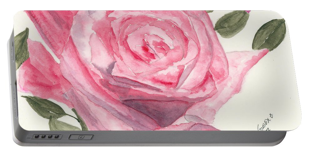 Rose Portable Battery Charger featuring the painting Something Real by Alexis Grone