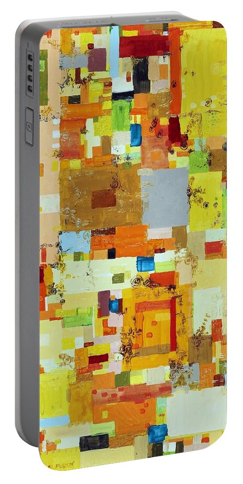 Abstract Portable Battery Charger featuring the painting Song Of Solar Fusion by Regina Valluzzi