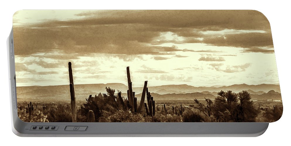 Saguaro Cactus Portable Battery Charger featuring the photograph Sonoran Desert Mountains And Cactus Near Phoenix by Kenneth Roberts