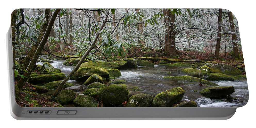 River Stream Creek Water Nature Rock Rocks Tree Trees Winter Snow Peaceful White Green Flowing Flow Portable Battery Charger featuring the photograph Soothing by Andrei Shliakhau