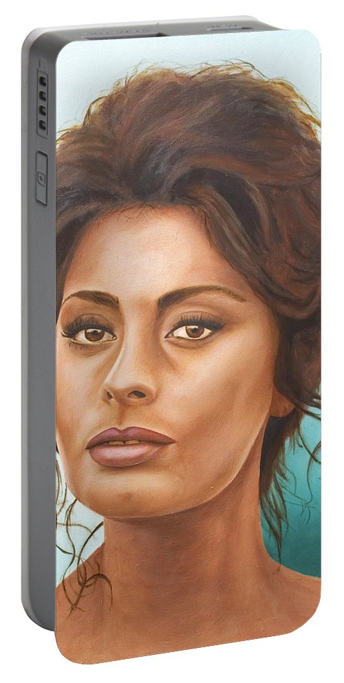 Moviestar Portable Battery Charger featuring the painting Sophia Loren by Rob De Vries