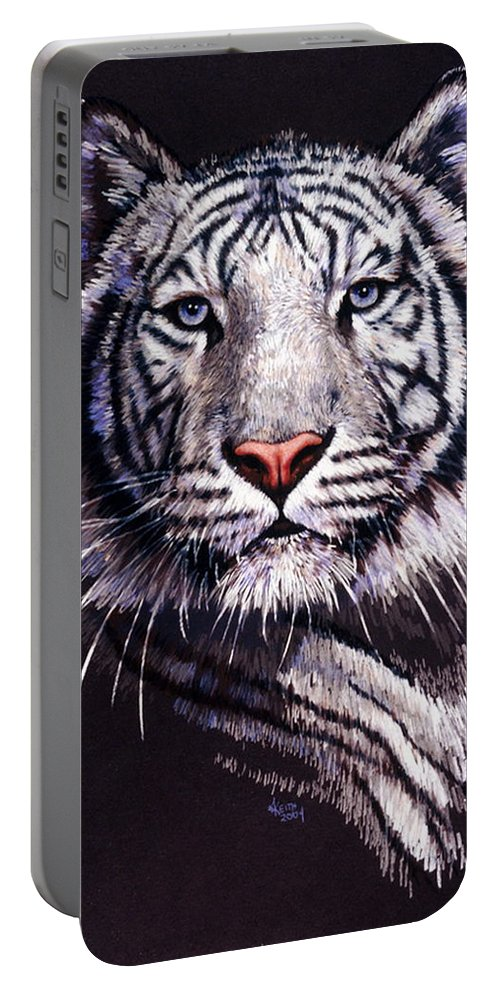 Tiger Portable Battery Charger featuring the drawing Sorcerer by Barbara Keith