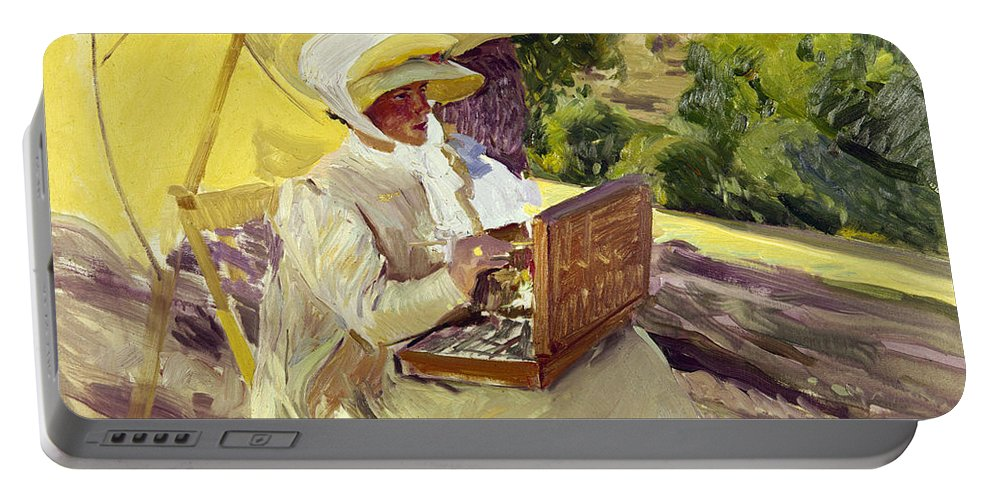 1907 Portable Battery Charger featuring the photograph Sorolla: Painter, 1907 by Granger