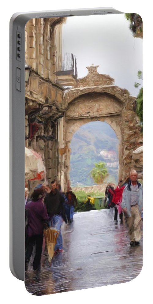 Italian Portable Battery Charger featuring the digital art Sorrento Beauty by Janet Fikar