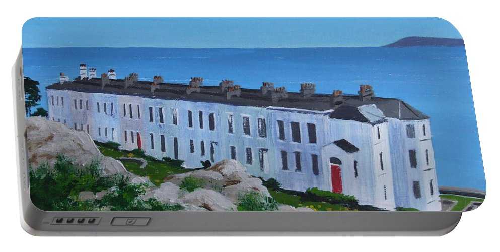 Sorrento Portable Battery Charger featuring the painting Sorrento Terrace, Dalkey by Tony Gunning