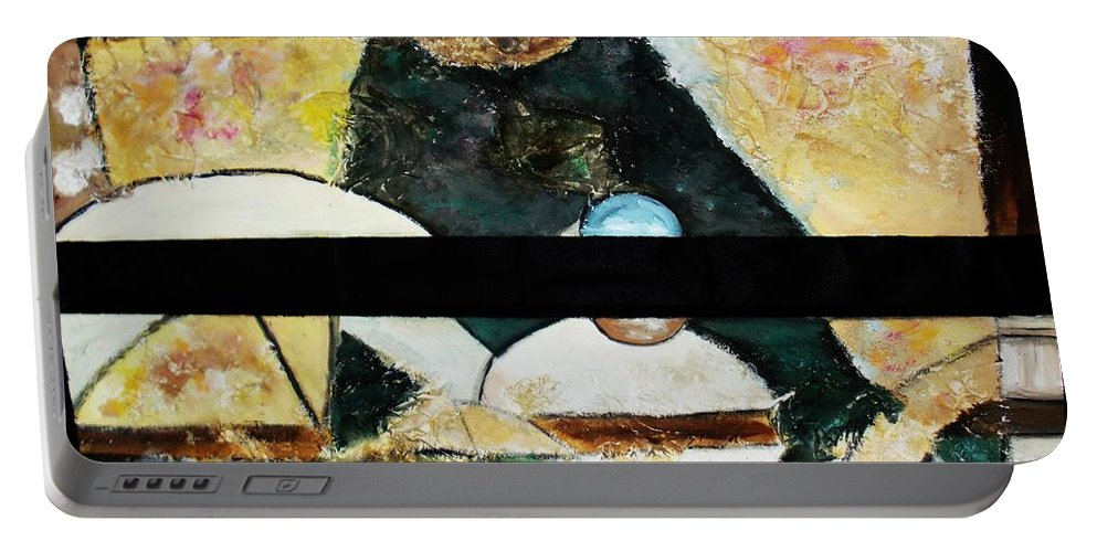 Acrylic Painting Portable Battery Charger featuring the painting Soul Mate by Yael VanGruber