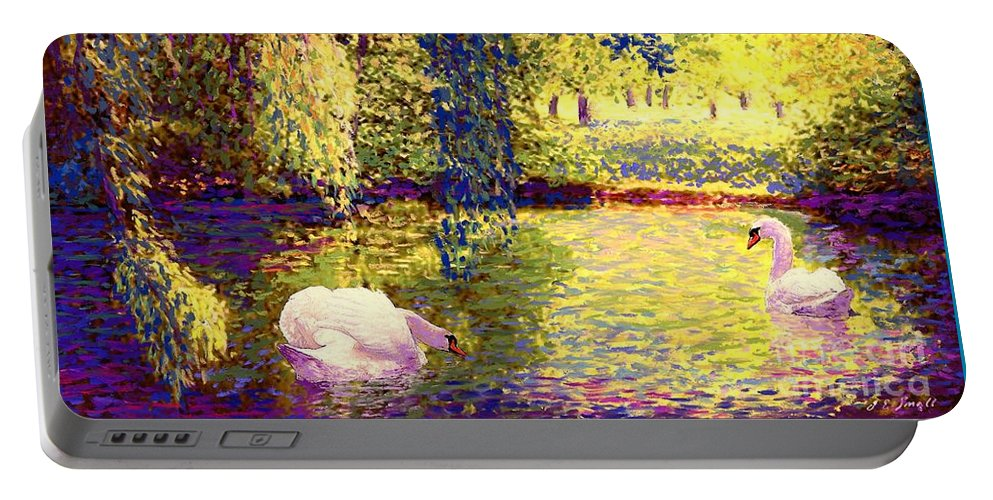 Spring Portable Battery Charger featuring the painting Swans, Soul Mates by Jane Small