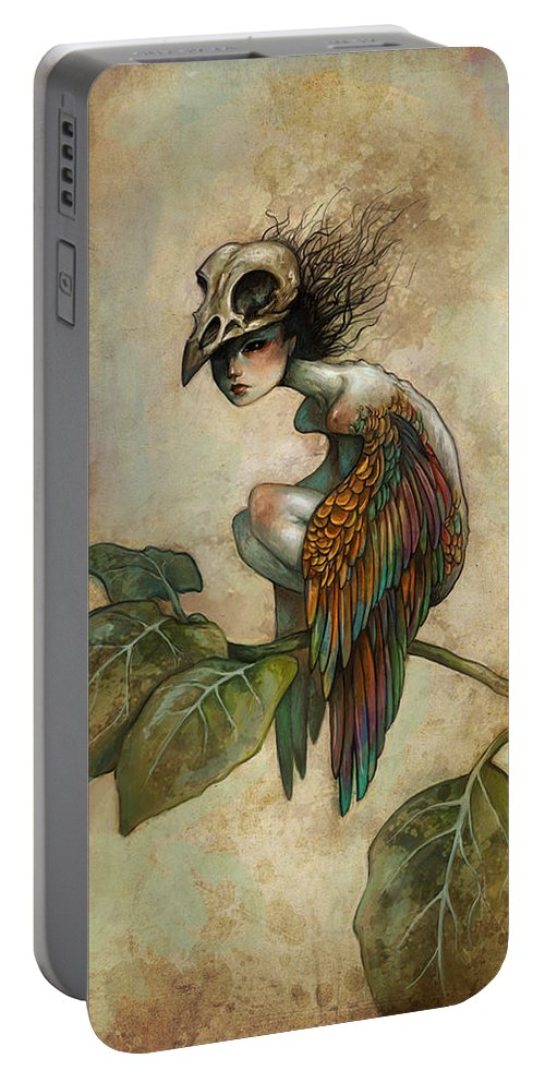 Bird Portable Battery Charger featuring the painting Soul Of A Bird by Caroline Jamhour